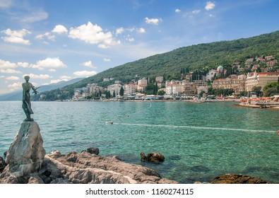 View from Promenade in Opatija at adriatic Sea in Istria,Croatia