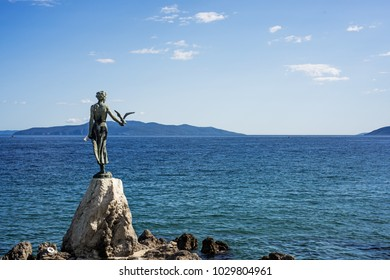 View from the Promenade of Opatija in Istria at sunny summer day. Croatia sea cost. Symbol of Opatija.