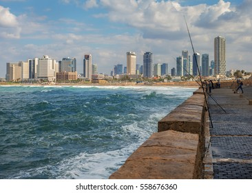 View from a promenade to the Tel Aviv.