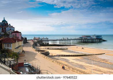 A view of promenade, town centre, and pier in Cromer, seaside town in Norfolk, England