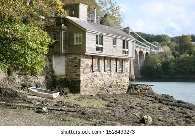 A view of the property alongside Telford's Ancient Suspension Bridge, Isle of Anglesey, North Wales, United Kingdom, Europe on Friday, 11th, October, 2019
