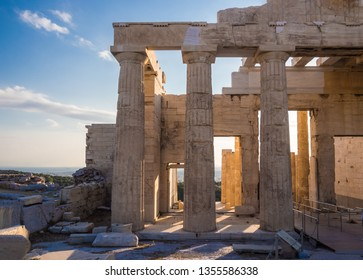 View of Propylaea entrance gateway from Acropolis, Athens, Greece against blue sky