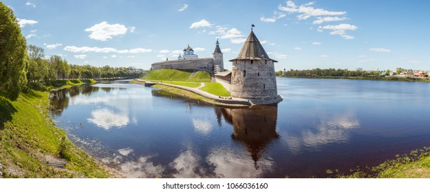 View of the Pskov Kremlin from the mouth of Pskov river, Russia
