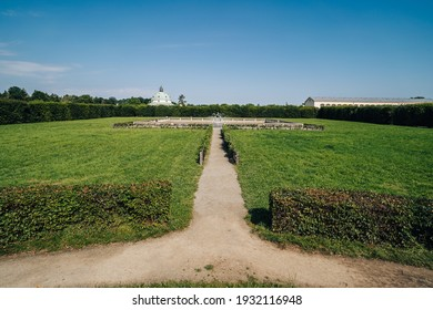 View of the public Kvetna Garden in Kromeriz (Kvetna zahrada), part of the Unesco World Heritage. Kromeriz, Czech republic. French style garden in summer. - Shutterstock ID 1932116948