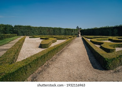 View of the public Kvetna Garden in Kromeriz (Kvetna zahrada), part of the Unesco World Heritage. Kromeriz, Czech republic. French style garden in summer. - Shutterstock ID 1932116963