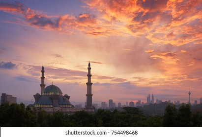 View of public mosque, Wilayah persekutuan mosque at sunrise in