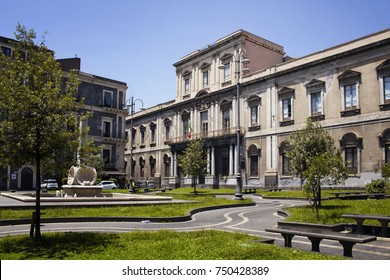 View of public school and city square in Catania city in Italy.
