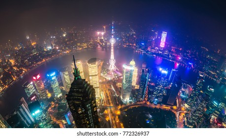 View of Pudong area and The Bund in Shanghai at night