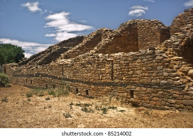 A view of the Pueblo ruins at Aztec National Monument in New Mexico