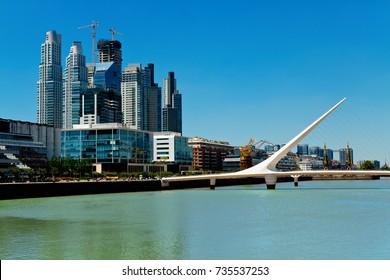 View of Puente de la Mujer(Women's Bridge), Puerto Madero in Buenos Aires