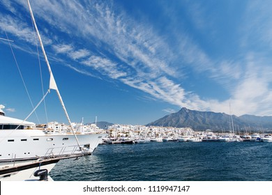 View of Puerto Banus harbour, in Marbella, Spain. Andalusia.