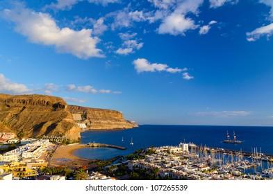 view of Puerto de Mogan bay, Gran Canaria, Spain