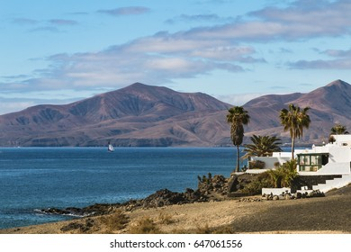 View from Puerto del Carmen in Lanzarote, Spain to the mountains in the south.