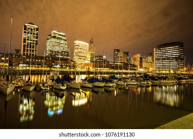 View of Puerto Madero dock in Buenos Aires, Argentina at night.