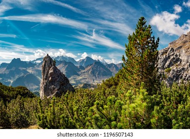 View from Puez-Geisler reserve in the Dolomite alps