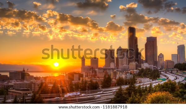 View of Puget Sound and Downtown Seattle, Washington, USA.