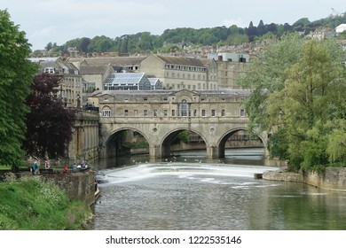 View of Pulteney Bridge over the River Avon in the Beautiful City of Bath in Somerset England