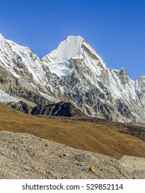 View of the Pumo Ri (7165 m) from Khumbu glacier on a sunny day - Everest region, Nepal, Himalayas