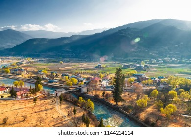 View of Punakha Valley with Cloudy Sky, Punakha, Bhutan