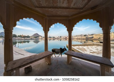 A view of pushkar lake - a well known pilgrimage center for hindu pilgrims at Pushkar, Rajasthan