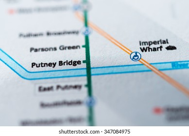 View of Putney Bridge station on a London underground map