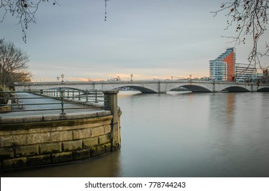 View of Putney Bridge in West London connecting Fulham with Putney over the River Thames