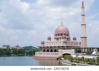 View of Putra Mosque located in Putrajaya, Malaysia during sunny day