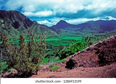 View from Puu Piei Trail, Kahana Valley, Koolau Mountains, Oahu, Hawaii, USA