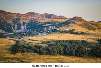View from the Puy de Montchal volcano on Puy de Sancy volcano and Super Besse ski station in Auvergne, France