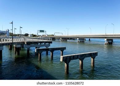 View of the pylons left standing as remains of the demolished 1939 Hornibrook Bridge in Redcliffe Peninsula, Queensland, Australia
