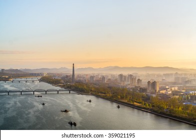 View of the Pyongyang city and Tucheto River, Capital of the North Korea