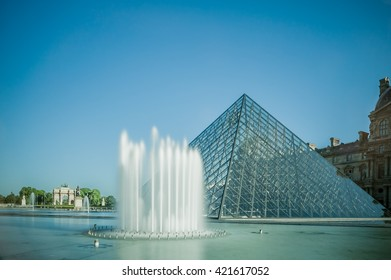 View of pyramid and fountain at courtyard of Louvre Museum. Louvre Museum is one of the largest and most visited museums worldwide.