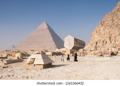 View to pyramid of giza with the new egypt museum in the center front