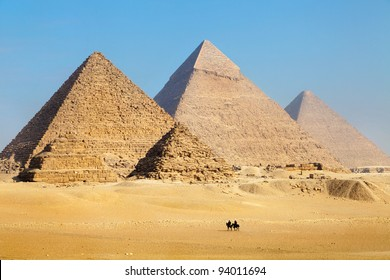 View of the Pyramids near Cairo city in Egypt