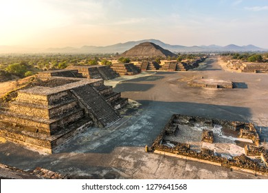 View of the pyramids of Teotihuacan (nahuatl name) , ancient Mesoamerican city in Mexico, located in the Valley of Mexico, near of Mexico City -Teotihuacan pyramids Moon and Sun -Aztecs
