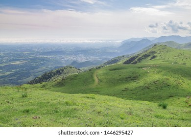 View of Pyrenean meadows looking north from Pic d'Escurets between the Aspe and Osseau valleys in the French Pyrenees,