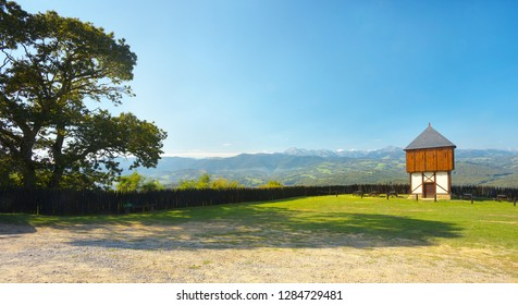 View of Pyrenees from castle of Mauvezin, France
