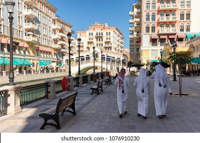 View to the Qanat Quartier, a district with Venetian architecture, on the Pearl in Doha, Qatar