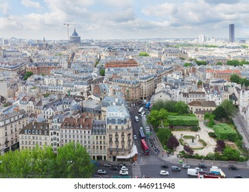 view of Quartier Latin of Paris city from above, France