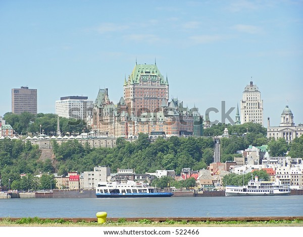 A view of Quebec City and the Chateau Frontenac from the other side of St Lawrence river
