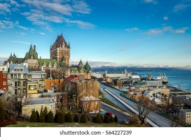 View of Quebec City skyline with Chateau Frontenac - Quebec City, Quebec, Canada