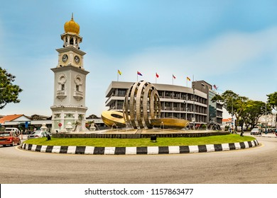 View of the Queen Victoria memorial clock tower at the North West of Penang island facing the sea side, Malaysia