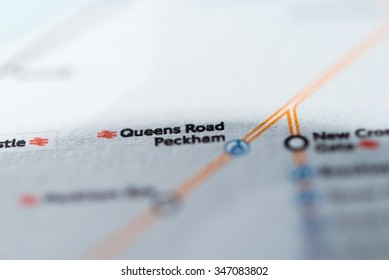 View of Queens Road Peckham station on a London underground map