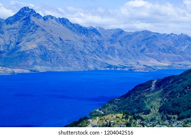 View of Queenstown from the Skyline, New Zealand.