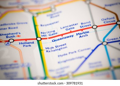 View of Queensway station on a London subway map.