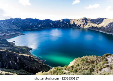 View of Quilotoa lagoon in Ecuador South America