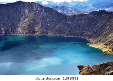 View of Quilotoa a water filled caldera in central Ecuador.
