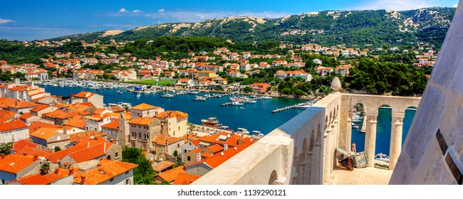 View of Rab town on Croatian island Rab from a tower of city cathedral