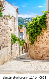View of Rab town on Croatian island Rab and its tiny streets made of stone