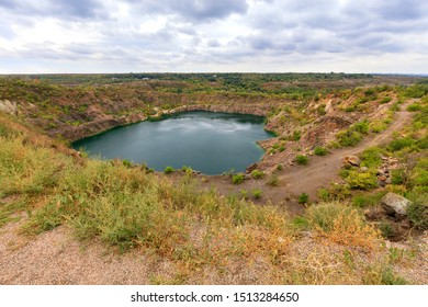 View of the radon lake, an abandoned granite quarry in which colorless radon gas can be released, which is dangerous for humans.